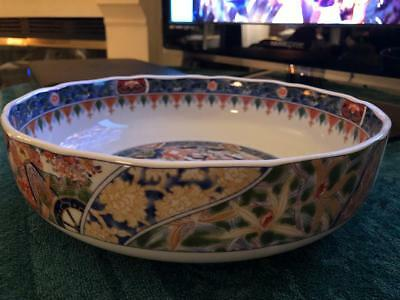 "LARGE Japanese Hand painted IMARI Bowl with BEAUTIFUL SCENES. 11"" X 3"" with MARK"