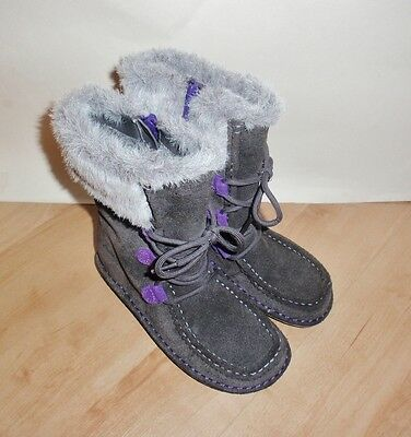 NEW Clarks girls SNUGGLEWALL JNR grey suede fleece lined boots - various sizes