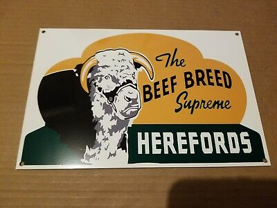 Hereford Beef Cattle Steer Thick Metal Sign Made USA Farm Barn Decor Art Cow