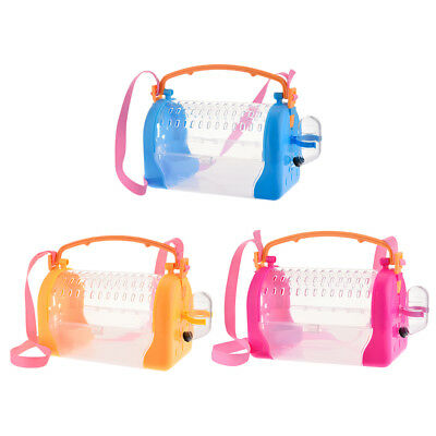 Small Animals Carrier Travel Pet Cage Hamster Guinea Pig Food Water Box W/ Strap