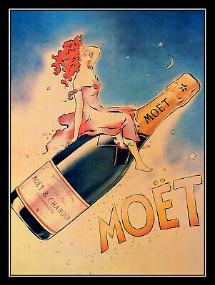 Champagne Moet, Retro metal Aluminium Sign vintage / man cave / Bar/ Pub