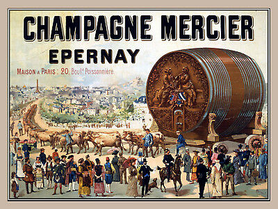 Champagne Mercier, Retro metal Aluminium Sign vintage / man cave / Bar/ Pub