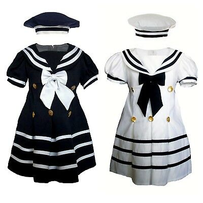 Baby Girl /& Toddler Formal Sailor Party Dress WHITE//NAVY 3 Months /& 4 Toddler