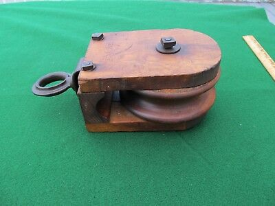 Antique Farm Barn Rope STARLINE Wood Pulley Early Square Nut & Bolts Nice!