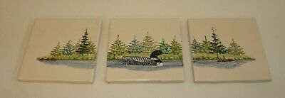 """Three Hand Painted Loon Wall Tiles / Trivets by D. Curtis - 4.25"""" x 4.25"""""""
