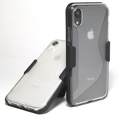 For iPhone XR 10R Carbon Fiber pattern frosted clear case with Belt clip holster
