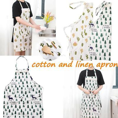 Women Cute Cartoon Waterproof Apron Kitchen Restaurant Cooking Bib With Pocket
