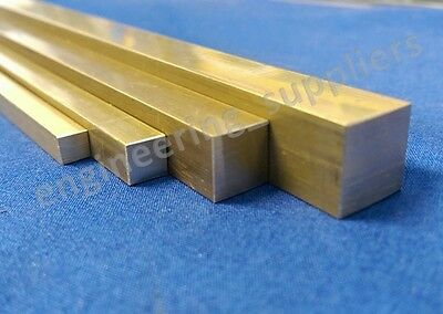 Brass Square Bar 3/16, 1/4, 3/8, 1/2, 4.7, 6.4, 9.5 & 12.7mm 100 - 600mm long