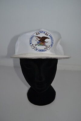 Vintage NRA White Strapback Cap USA Embroidered Logo Dad Hat Gun Rifle