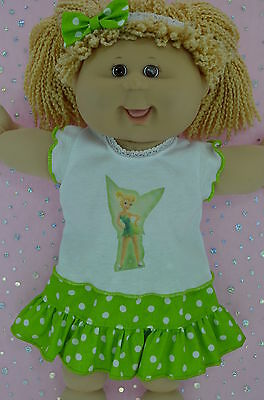 """Play n Wear Doll Clothes To Fit 16"""" Cabbage Patch POLKA DOT SKIRT~TOP~HEADBAND"""