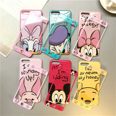 Set Cartoon Disney Minnie Case for iPhone 11 Xs Max X 8 7 Full Cover +Glass Film