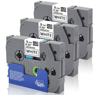 "3Pack TZe221 compatible/Brother Labels 9mm (3/8"") Black on white Laminated Tape"
