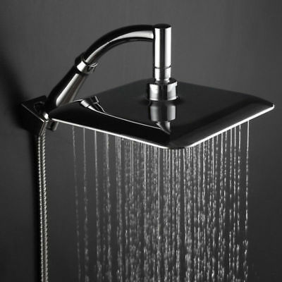1x 9 Ultra-thin Chrome Square Rainfall Shower Head Extension With Arm Hose Set