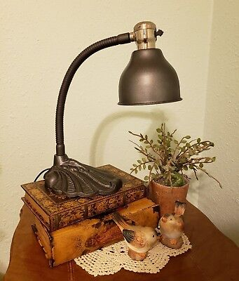 Restored Vintage Art Deco Style Gooseneck Desk or Table Lamp with Cone Shade