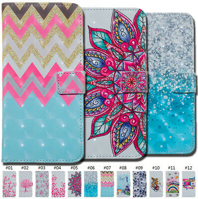 For Huawei Holder PU Leather 3D Patterned Card Slot Strap Flip Stand Case Cover