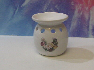 Scented Wax Melting Pot White With Flowers Ceramic