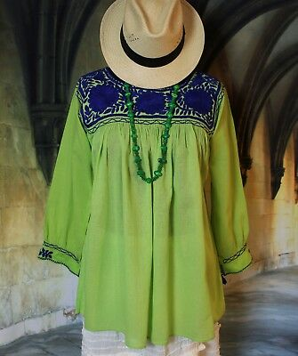 Mexican Peasant Blouse Lime Green & Blue Hand Embroidered Cotton Mayan Chiapas