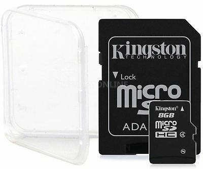 2 PACK 8GB KINGSTON CLASS 4 micro SD SDHC microSD Flash Memory Card Lot + CASE