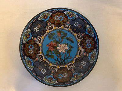Antique Chinese or Japanese Cloisonne Charger Plate w/ Floral & Butterfly Dec