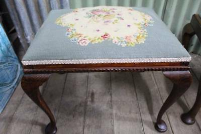 A Vintage Mahogany Stool with Lovely Tapaestry Seat
