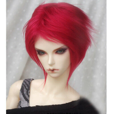[wamami] Fashion Red Mid-length Wool Wig Hair MSD AOD DZ 1/4 BJD Dollfie 7-8""