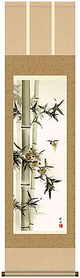 japanese hanging scroll    Title : Bamboo and sparrow