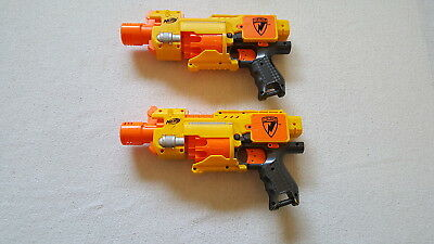 Lot of 2 Nerf N-STRIKE Barricade RV-10 Semi-Automatic Dart Guns
