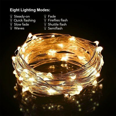 12M 100LED Solar Outdoor String Rope Lights Copper Wire Fairy Xmas Decor Party