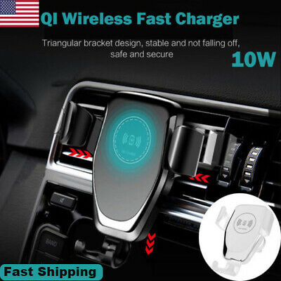 10W QI Wireless Fast Charger Car Mount Holder Stand For iPhone XS XR Samsung S9