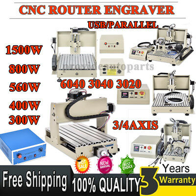 CNC Router 3/4 6040/3040/3020 Axis Engraver Cutter 300/400/560/800/1500W Spindle