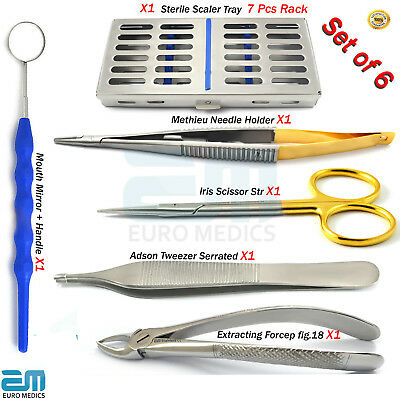 Orthodontic Kit with Extracting Pliers Cassette Tray Mouth Mirror Adson Hygiene