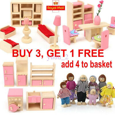 New Kid Pink Wooden Furniture Dolls House Miniature 6 Room Set Doll For Gift DIY