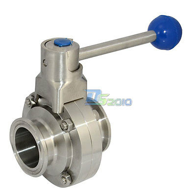 "1-1/2"" 38mm OD Sanitary Butterfly Valve Ferrule OD 50.5mm Stainless316 1000 WOG"