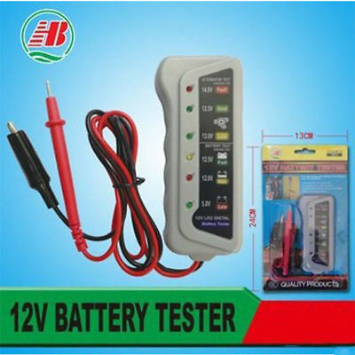 Car Motorcycle Digital Battery Alternator Load Tester 6 LED Display 12V 8399