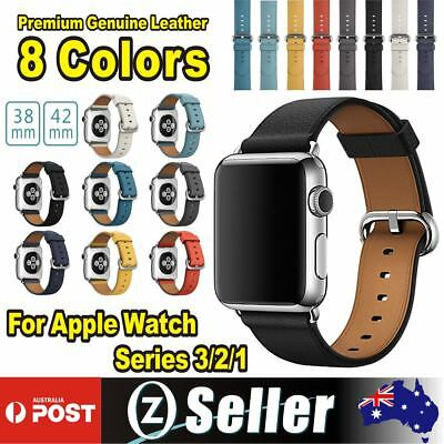For Apple Watch Series 3 2 1  Leather iWatch Band Strap Bracelet+Classic Buckle