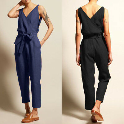 Women Summer Sleeveless V Neck Belt Tie Bow Playsuit Romper Club Party Jumpsuit