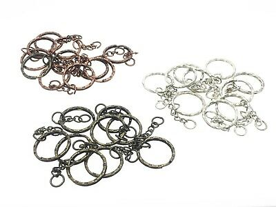 10x Keyring Blanks Silver Tone Key Chains Findings Split Rings 4 Link Chain