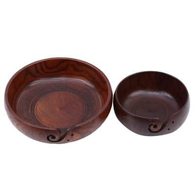 Wooden Yarn Bowl Hand Made Wood For Knitting And Crochet Gift FI