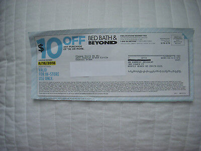 ONE BED BATH AND BEYOND $10 off $30 COUPON VALID IN STORE ONLY~ EXP 6/18/18