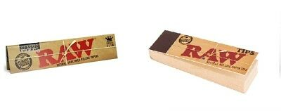 Genuine RAW Rolling Papers King Size Slim Classic Unrefined Skin+ RAW TIPS FREE