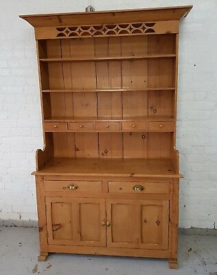 Solid Pine Welsh Dresser, Ornate, Reclaimed Timber Antique Victorian Style