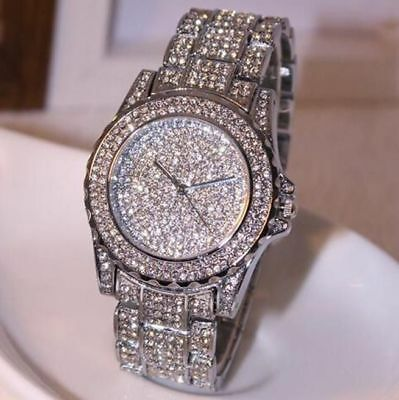 Womens Luxury Fashions Sparkling Diamonds Wrist Watch Stainless Steel Round Case