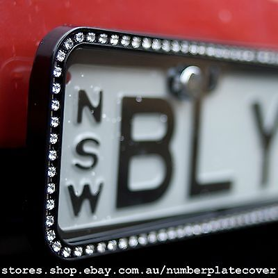NSW Slimline Black Sparkling Crystal Number Plate Cover ( in Pairs )