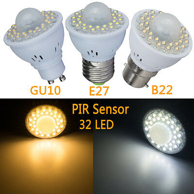 New B22 E27 GU10 LED Light Bulbs PIR Motion Sensor Cool Warm White Auto Lamp CPN