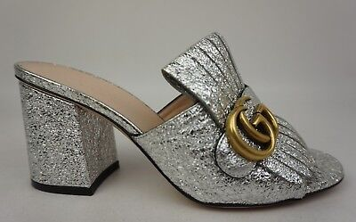 ac36acca28fc7d Gucci GG Marmont Silver Fringed Metallic Cracked Leather Peep Toe Mule Size  36