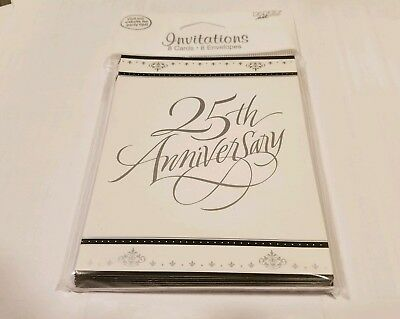 Silver Wedding Party Invitation Cards 25th Anniversary Party 8 cards & envelopes