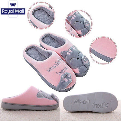 7c3d1cb0232 UK Women Cute Cozy Cat Paw Slippers Home Warm Winter Slippers Indoor House  Shoes