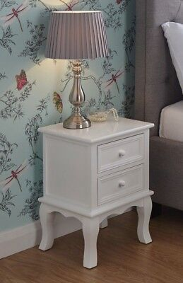 White Wooden Bedside Table 2 Drawer Classy Modern Chic Design x 2 Quality Item