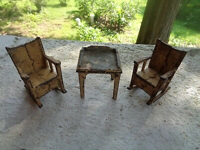 Vintage Lot Of 3 1930's Kilgore Doll House Furniture Cast Iron Chair Table