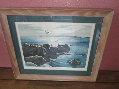 Vintage Framed Matted Theodore Ted Kautzky Watercolor Looking Eastward